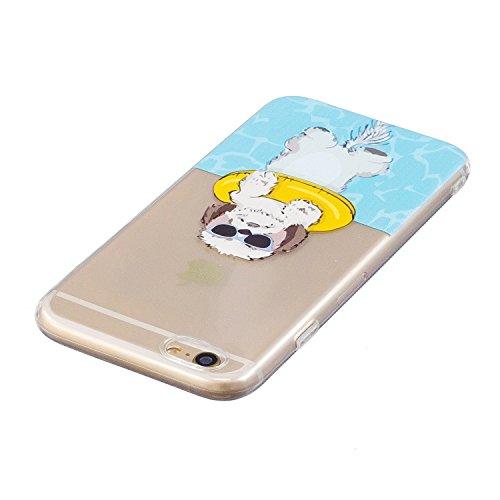 iphone 6 / 6s Hülle, E-Lush TPU Soft Silikon Tasche Transparent Schale Clear Klar Hanytasche für iphone 6 / 6s (4.7 Zoll) Durchsichtig Rückschale Ultra Slim Thin Dünne Schutzhülle Weiche Flexibel Hand weißer Hund