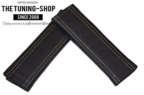 2x cintura cover imbottito spalla in pelle nera con cuciture verde (Mazda 6 Oem Sostituzione)