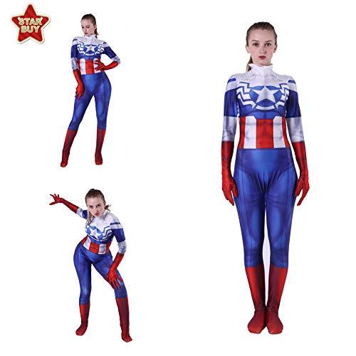 HEROMEN Captain America Peggy Carter Cosplay Kostüm Lycra Siamesische 3D Strumpfhose Weihnachten Halloween Kostüm Für Erwachsene/Kinder,BlueAdult-XXL (Peggy Carter Kostüm)