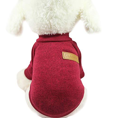 VENMO Haustier Hund Welpen Classic Sweater Fleece Pullover Kleidung Warmer Hund Hundepullover Hundepulli Winter Strickpullover Sweater Cardigan Weihnachten Fasching Kostüme Outfit Cardigan Und Hut