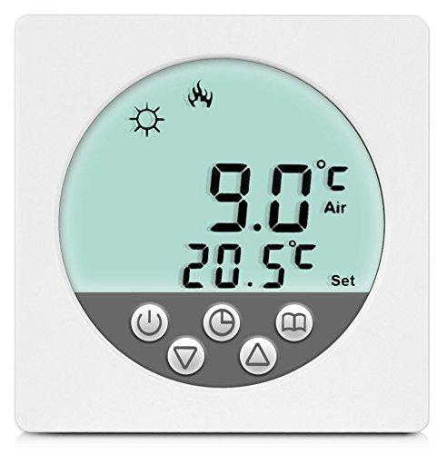 SM-PC®, Digital Thermostat Raumthermostat Fußbodenheizung Wandheizung LED weiß #a34