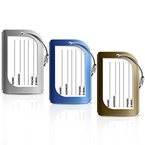 Bagages Étiquettes, Foonii 3 Couleurs Aluminium Voyage Bagages, étiquettes Valise avec Cordes en Acier Inoxydable, Accessoires Voyage(3 Pack)