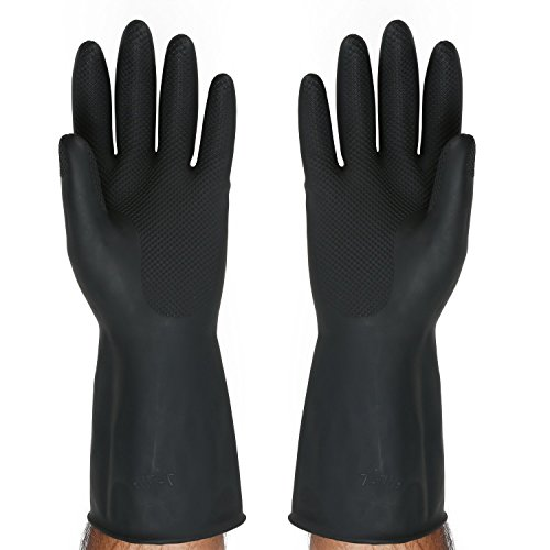 SAFEYURA® Multipurpose Non-Slip Rubber Reusable Gardening Dishwashing Scrubbing Cleaning Gloves (Color Black, Size: 9.5 Inch)