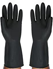 SAFEYURA Multipurpose Natural Gum Rubber Reusable Cleaning Gloves (Color: Black, Size: 8.5 Inch)