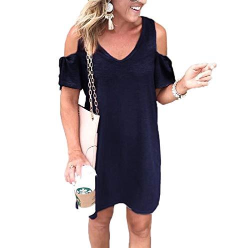 4d84f092ac06 Ajpguot Vestiti da Donna Fuori dalla Spalla Abito di Maglietta Estivo Abiti  da Spiaggia Elegante Mini