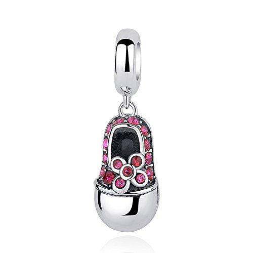Baumeln Baby Schuhe 925Sterling Silber Blume Rosa Cubic Zirkonia Perlen Passend für europäische Armband von chengmen Schmuck (Baby-schuh-charme)