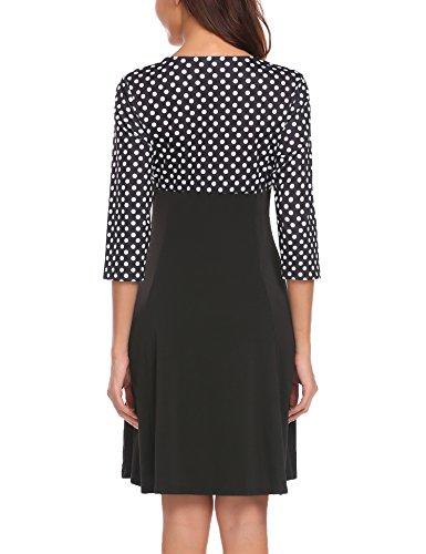 Damen Elegant 3/4 Arm Abendkleid Cocktailkleid Partykleid Wickelkleid V Ausschnitt Polka Dots Kleid A Linie Knielang Herbst Winter Black