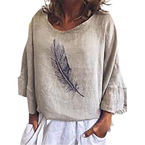 Zegeey Damen Oberteil Langarm Rundhals Drucken FrüHling Herbst LäSsige Lose T-Shirt Tops Pullover Hemd Bluse Basic Shirt (Grau,EU-38/CN-L) -