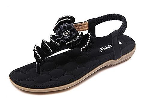 Minetom Femmes Filles Été Plage Chaussures Bohemian Fleur Strass T Strap Sandales Plat Peep Toe Flip Flops Noir EU 39