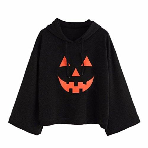 Damen Kürbis-Kopf Kapuzenpullover VENMO Women Loose Plus Print Halloween Bluse Langarm Hoodies t-shirt Tops Damen Kapuzenpullover Frauen Stilvoll und Mode Hoodie Sweatshirt Pullover (XL, Black) (Satin Asiatischen Hut)
