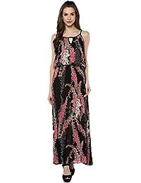 Taurus Women's Viscose Black Strawberry Swing Dress