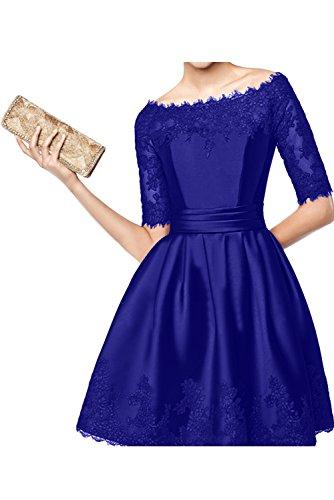 TOSKANA BRAUT Damen Rund Applikation Neu Satin Halbarm Abendkleider Brautmutterkleid Kurz Partykleider Royalblau