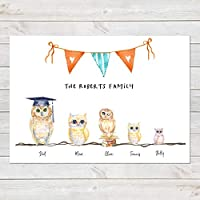 Owls Family Print Personalised Wall Art Gift for Home A3 or A4
