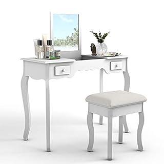 COSTWAY Schminktisch Frisiertisch Kosmetiktisch Frisierkommode mit Klappspiegel und Schubladen inkl. Hocker Farbwahl (Weiß)