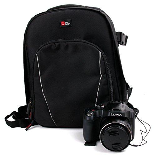 DURAGADGET Sac à Dos de Transport et de Rangement pour Appareil Photo Panasonic Lumix FZ72 et LZ30E, FZ1000, FZ300, GM1, LX100 et G70 - Noir et Gris