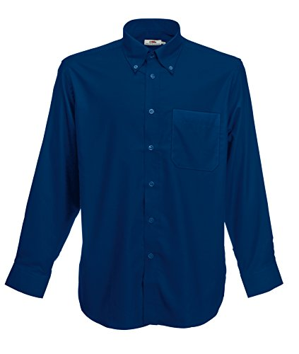 Fruit Of The Loom - Camicia Maniche Lunghe - Uomo (L) (Blu navy)