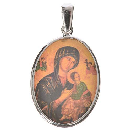 Holyart Medalla Ovalada de Plata, 27mm Virgen del Perpetuo Socorro