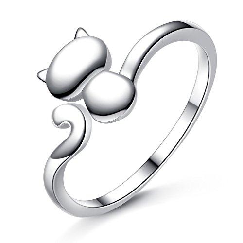 EVER FAITH® 925 de Plata Esterlina Encantadora Encantadora Gato Animal Declaración Anillo de Cóctel