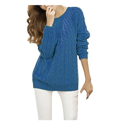Koly _Manica lunga donne lavorato a maglia Pullover maglione ( Blu)