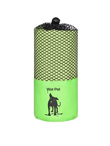Großes Hundehandtuch (Grün) aus Mikrofaser von Wet Pet (120 x 80 cm): super saugfähig, schnelltrocknend, leicht, kompakt, hygienisch, farbenfroh und kuschelig weich. Im praktischen Beutel für Reisen und Ausflüge. Auch als Hundedecke und Welpendecke verwen