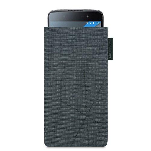 Adore June BlackBerry DTEK50 Hülle, [Serie Axis] Handytasche mit Rückzugsfunktion, Tasche mit abstrakter Steppung [Display-Reinigungseffekt] für BlackBerry DTEK 50 - Dunkelgrau