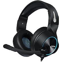 ACGAM Auriculares Cascos Gaming Con Cable Gaming Headset con Conector jack 3.5mm y Luces led,Válidos para XBox One, PS4, Smartphones, PC, Portátiles.