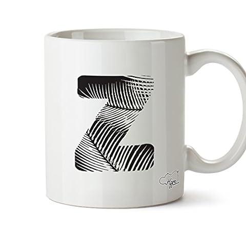 hippowarehouse Z Beach Alphabet (Pocket) 284ml Tasse, keramik, weiß, One Size (10oz)