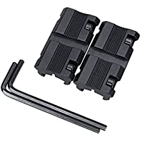 DETECH Tactical 2 unids/Set Caza Rifle Gun Scope Mounts Base 11mm Dovetail to 20mm Weaver Picatinny Rail Mount Airsoft Accesorios