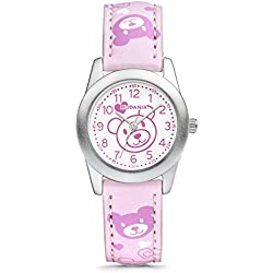 Rodania Bear girl's quartz Watch with white Dial analogue Display and pink leather Strap RF2487853