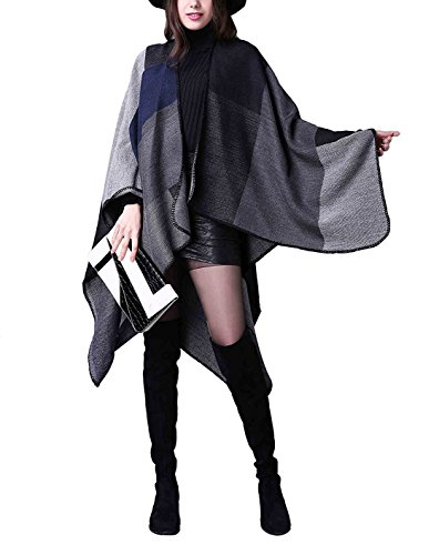Kadcope Women Shawl Scarf, Women Winter Poncho Capes Wraps Shawl Cardigans Sweater Coat Scarves Stoles Black