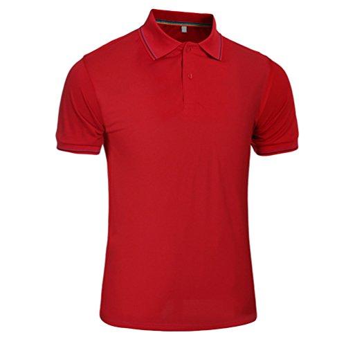 ZhiYuanAN Uomo Maglietta Polo Di Tinta Unita Taglia Larga T-Shirt Con Il Pulsante Di Risvolto Casual Sport Tennis Polo Shirt Rosso