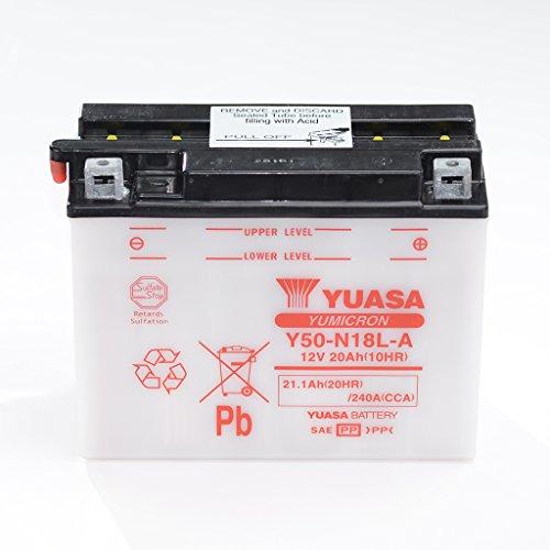 Batteria da 12V 20AH Y50-N18L-a, umido Yuasa DIN 52012per GL 1100D oro Wing SC02  per GL 1100Goldwing SC02  GL 1200D Goldwing SC14  GL 1500Gold Wing SC22  GL 1500SE Gold Wing SC22  VN-15A VNT50A