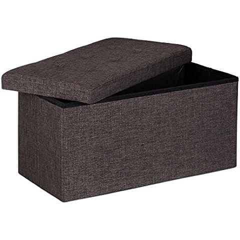 Relaxdays - Banco plegable con espacio de almacenamiento hecho de lino con medidas 38 x 76 x 38 cm capacidad de 85 L asiento baúl, color marrón