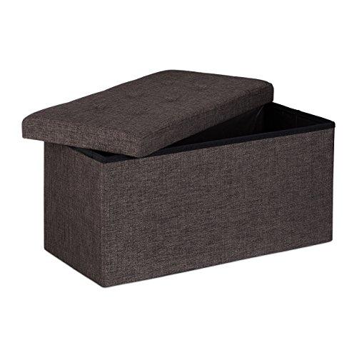 Relaxdays Faltbare Sitzbank XL 38 x 76 x 38 cm HxBxT stabiler Sitzcube mit praktischer Fußablage als Sitzwürfel aus Leinen als Aufbewahrungsbox mit Stauraum und Deckel zum Abnehmen für Wohnraum, braun
