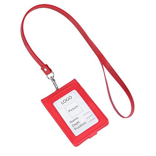 Gogo Leder Badge Halterung vertikal zusammenklappbar 5Kartenfächer ID Kreditkarte Geldbörse mit Lanyard 4 Packs rot