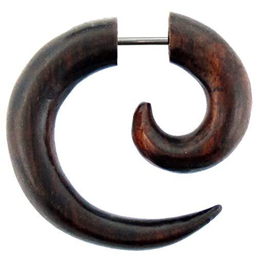 Chic-Net Damen Herren Fake Piercing Spiralen Dehnschnecke Ohrring aus Holz und Edelstahl als Spirale oder spiraliger Spike OH-100