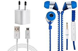 JIYANSHI Combo of 2A Wall Chager/Portable Charger/Mobile Charger & Wired In-ear Headphone/Earphone Zipper (Blue) Compatible for Compatible for Oppo Mirror 5S