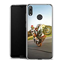 DeinDesign Slim Case kompatibel mit Huawei Y7 (2019) Silikon Hülle Ultra Dünn Schutzhülle Meddes Motorrad Motorsport