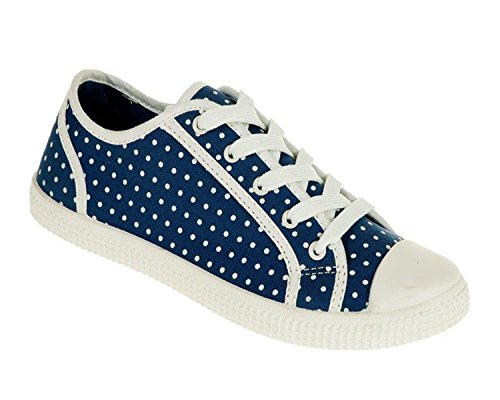 Womens Flat Plimsoles Casual Floral Lace Up Canvas Ladies Shoes Pumps Trainers (UK6, Blue Dots)
