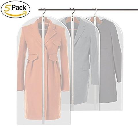 Costume Dress Cover Sacs PEVA Eco-Friendly Transparent Garment Vêtements Cover 60 * 128cm Organizer Robe longue antipoussière Zipper Sacs Protector (Large, Pack de 5)