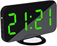 TECHVIDA digital alarm clock 2-in-1 digital mirror clock with USB port adjustable brightness meter clock for h