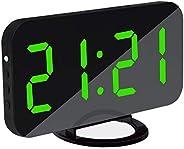 ساعة منبه تيكفيدا رقمية 2 في 1 مع منفذ USB ودرجة سطوع قابلة للتعديل للاستخدام في المنزل والمكتب والفنادق (أخضر