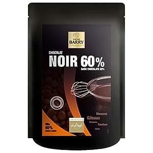 CACAO BARRY - Pistoles chocolat noir 60% - 200 g - Sélection LENÔTRE Paris