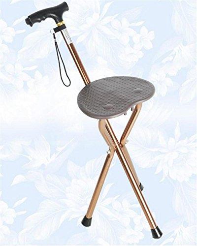 KYCD Krücken,Einstellbare Klapp-Walking Cane Stuhl Hocker Massage Walking Stick mit Sitz Tragbare Angel Rest Hocker mit LED Licht 76-91 cm -