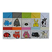 10 x Pack Animal Birthday cards. Coloured envelopes.