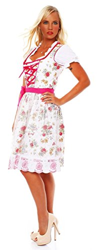 Costume pour femme 3 10588 fashion4Young mini robe tablier tlg.trachtenkleid chemisier costume fête de la bière (oktoberfest) - Weiß Pink