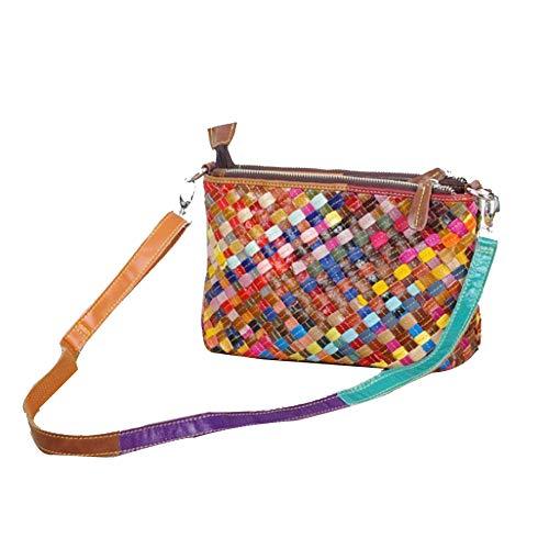 Damenmode Plaid Umhängetasche, Farbe Handtasche Umhängetasche, Moderne Quadratische Mini-Tasche,Colorstitching-OneSize