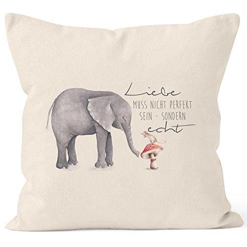 MoonWorks Kissenbezug Geschenk Liebe Muss Nicht perfekt Sein Sondern echt Elefant Maus Kissen-Hülle Deko-Kissen 40x40 Baumwolle Natur 40cm x 40cm -