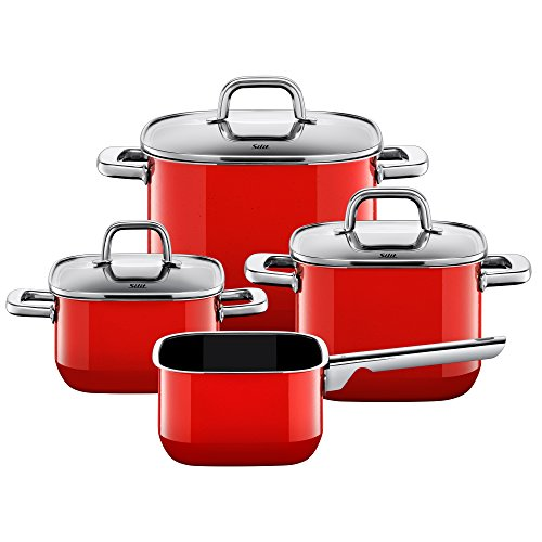 Silit pot set, 4-piece, quadro red. Square shape, stackable, made in Germany, all-metal handles, glass lid, Silargan® functional ceramic, suitable for induction hobs, dishwasher safe