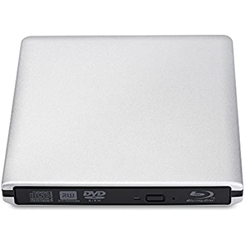 Unidad USB3.0 Grabadora Portátil Externa BD/DVD/CD /3D Blu-ray Disc/DVD, 24X CAV 10XCLV Apoyo 100G Máxim Capacidad de Disco para Apple Macbook y Otro Ordenador Portátil